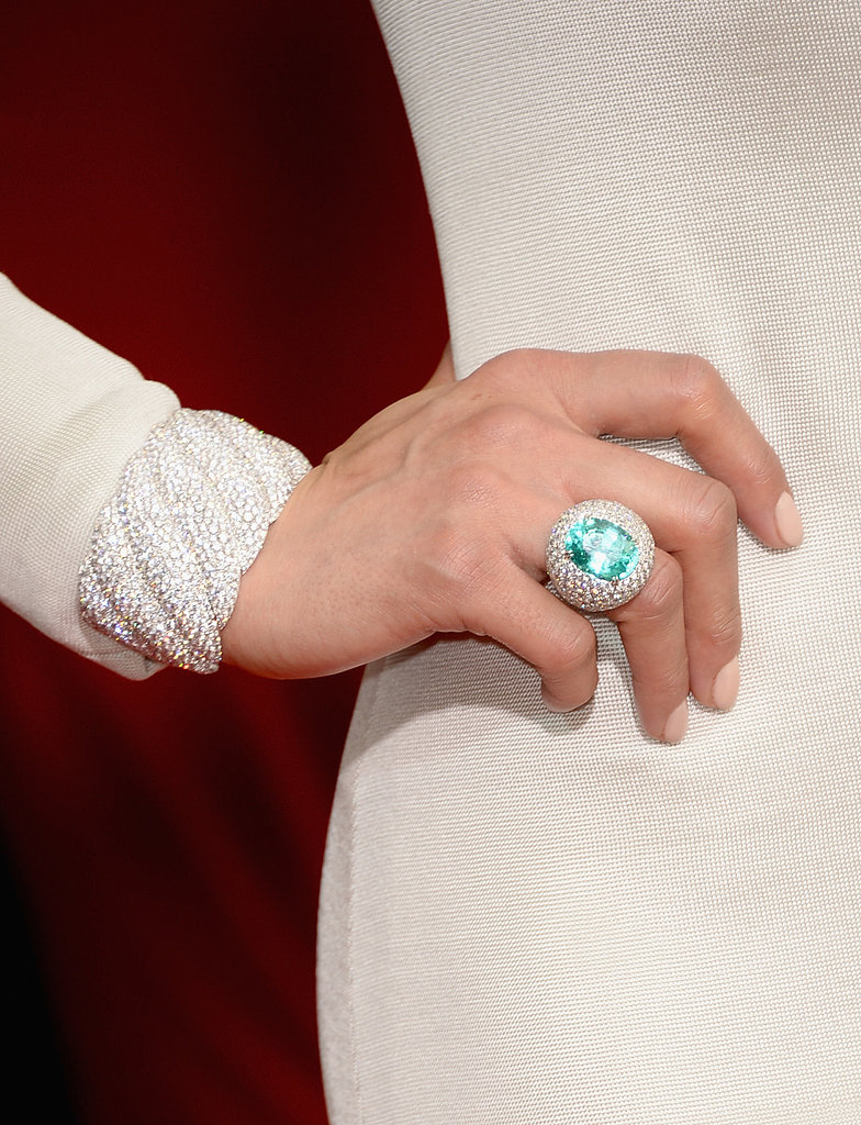 Check out the David Yurman paraiba tourmaline and white diamond ring on Paula Patton's finger!