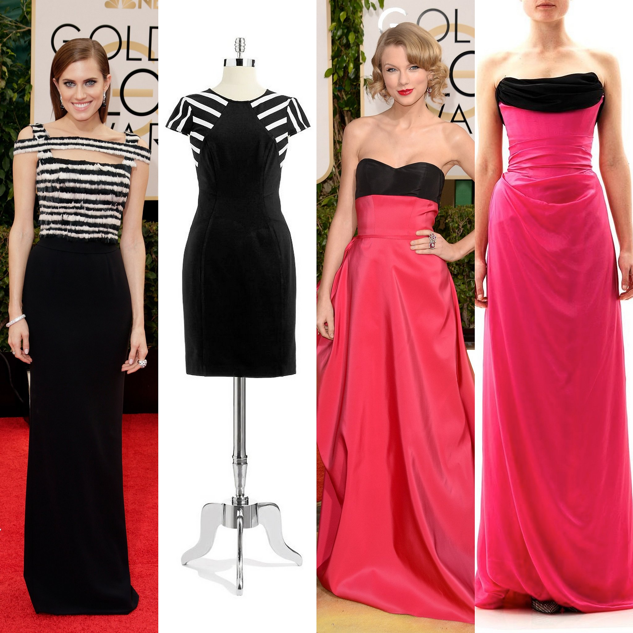 Allison Williams' stripe topped gown is very playful, while Taylor Swift's pink and black voluminous gown looks old-school cool.
