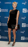 Charlize Theron put her long legs on display.