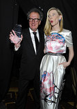 Cate Blanchett joked with Geoffrey Rush about his award.