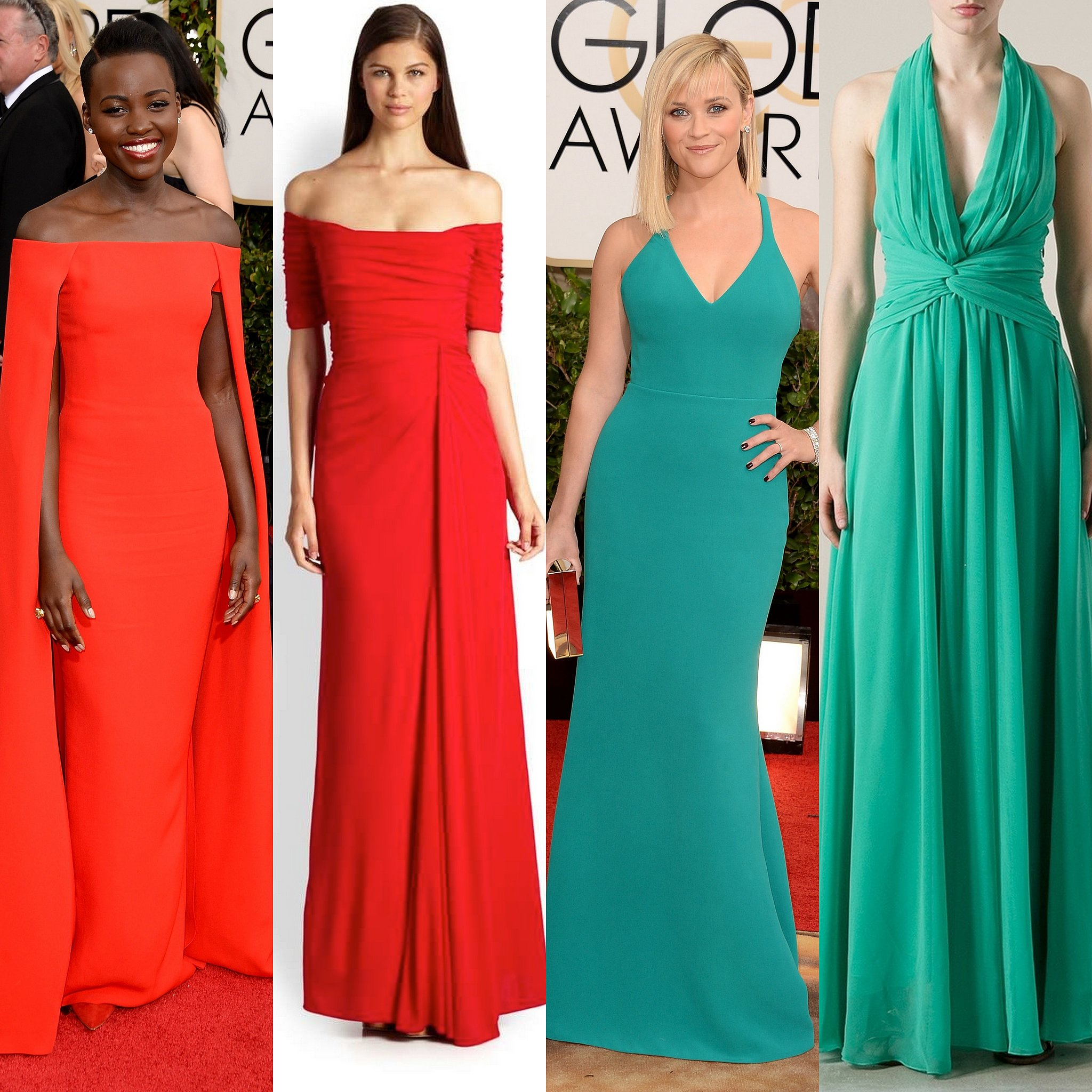 Reese Witherspoon is the epitomy of California cool in her green halter dress. Lupita Nyong'o in the Ralph Lauren Audrey Cape Evening gown is hands down my favorite look of the evening. She is simply radiant in red.