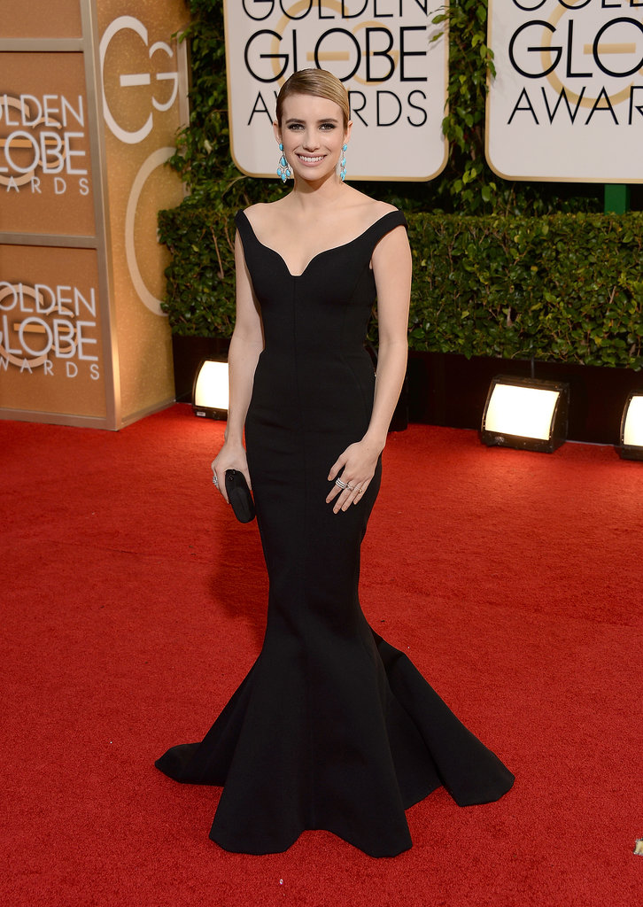 Emma Roberts at the Golden Globes in Lanvin