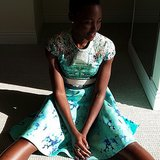 Lupita Nyong'o took a moment to take it all in — in a pretty dress, no less! Source: Instagram user lupitanyongo