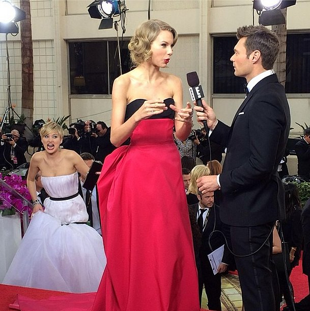 The award for best photobomb of the Golden Globes went to Jennifer Lawrence in her Dior Haute Couture gown. Source: Instagram user ryanseacrest