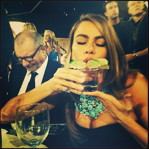 A well-accessorized Sofia Vergara gave her glass a lot of love. Source: Instagram user therealsarahhyland