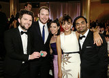 Adam Scott and Chris Pratt grouped up with Aubrey Plaza, Rashida Jones, and Aziz Ansari.  Source: Paul Drinkwater/NBC/NBCU Photo Bank/NBC