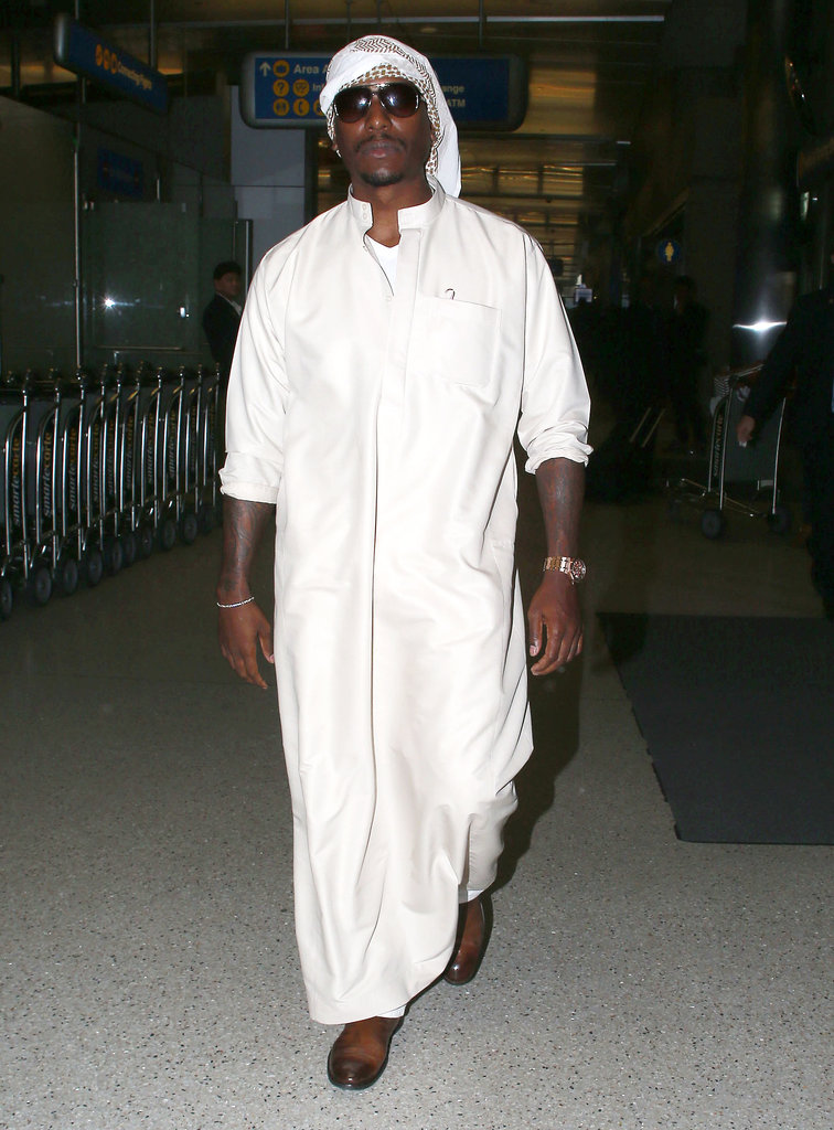 Tyrese Gibson wore traditional clothing when he landed at LAX on Monday after visiting Dubai.