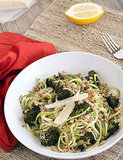 Zucchini Pasta With Farro, Parmesan, and Roasted Broccoli