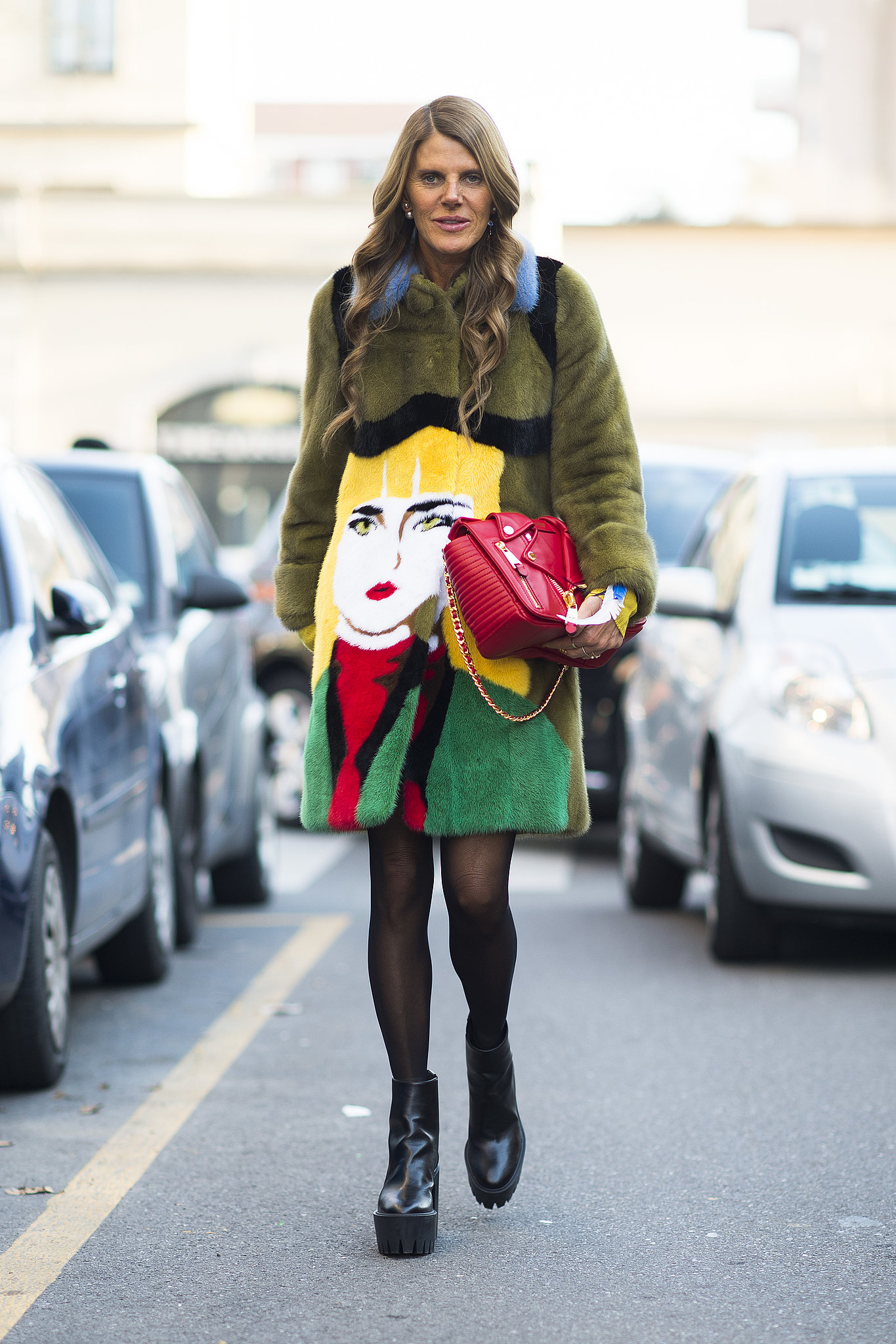 Anna Dello Russo may just be showing off the buzziest item of the season with her Prada pop-art coat. Source: Le 21ème | Adam Katz Sinding
