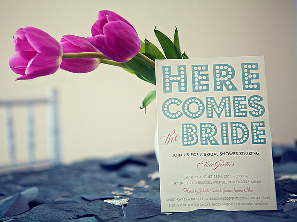 In keeping with the theme, these Minted invitations feature marquee-style lettering. Photo by Serendipity Studios