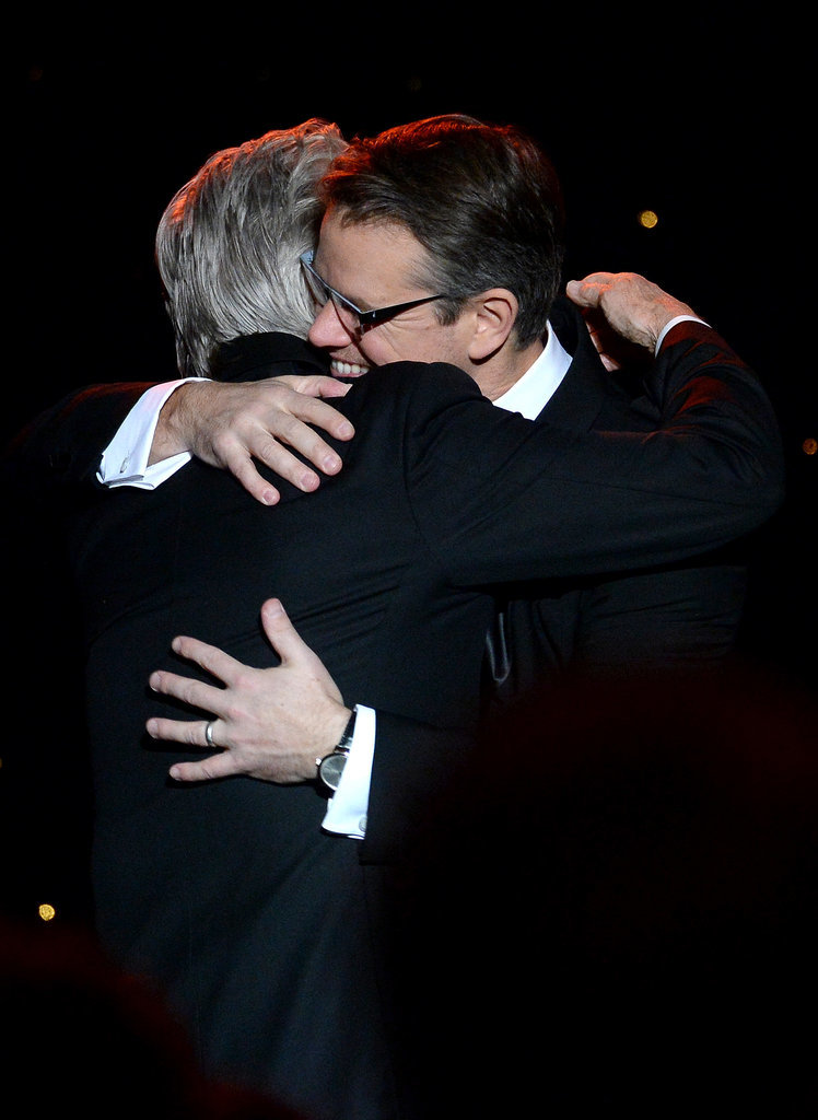 Matt Damon and Michael Douglas hugged.