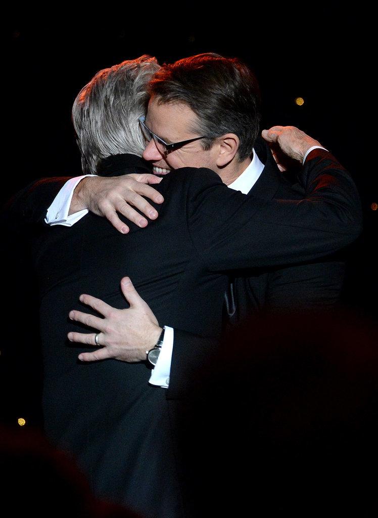 Matt Damon and Michael Douglas hugged.