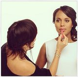 Kerry Washington got photo-ready with a last-minute touch-up. Source: Instagram user kerrywashington