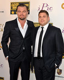 Leonardo DiCaprio stayed close to his Wolf of Wall Street costar Jonah Hill on the red carpet.