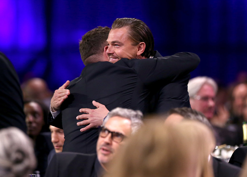 Leonardo DiCaprio and Jonah Hill hugged adorably.