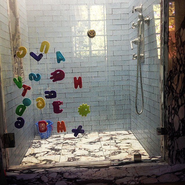Hilary Duff showed off little Luca's artistic creation after his shower. Source: Instagram user hilaryduff