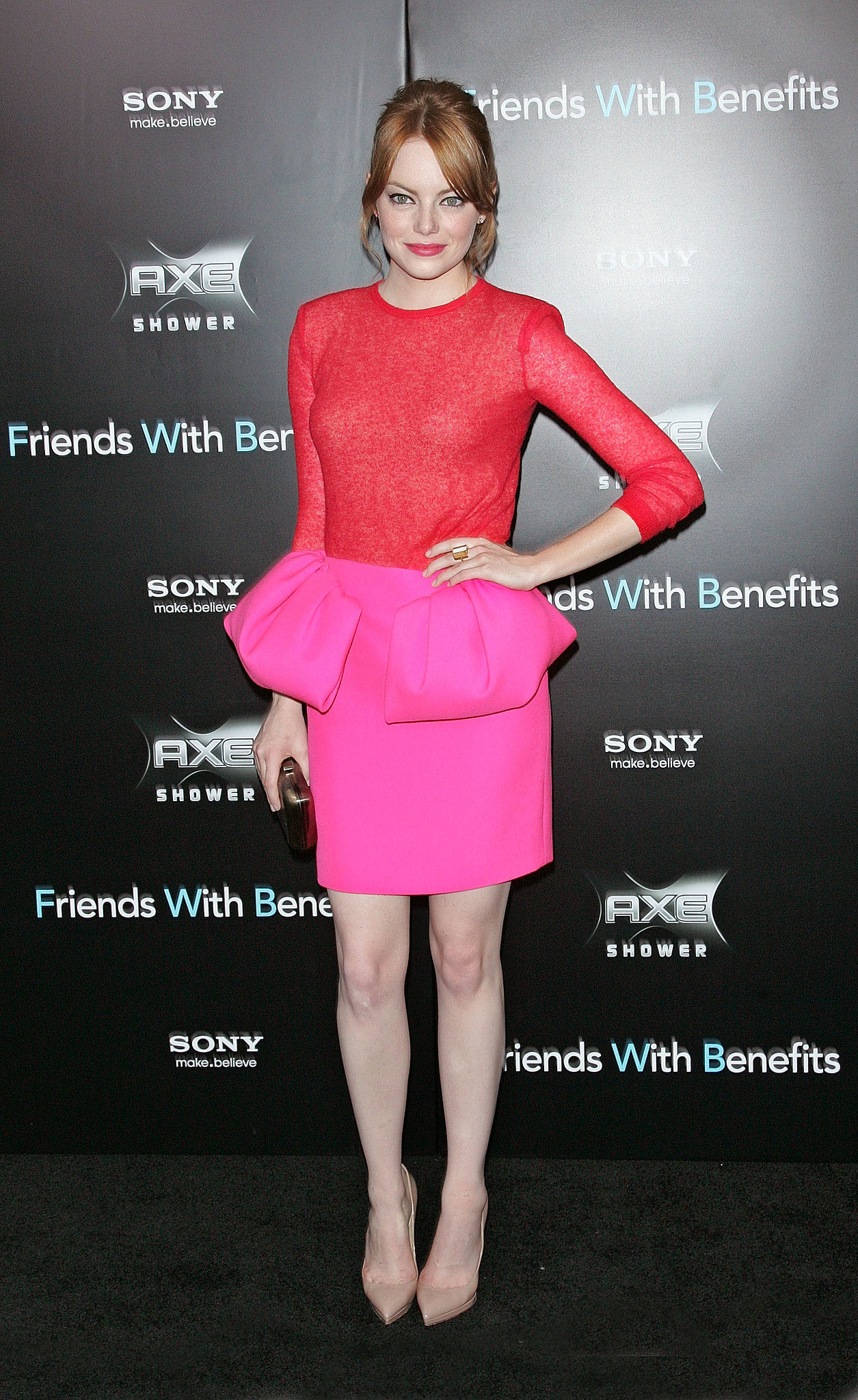 Though Emma Stone's colorblock Giambattista Valli look is