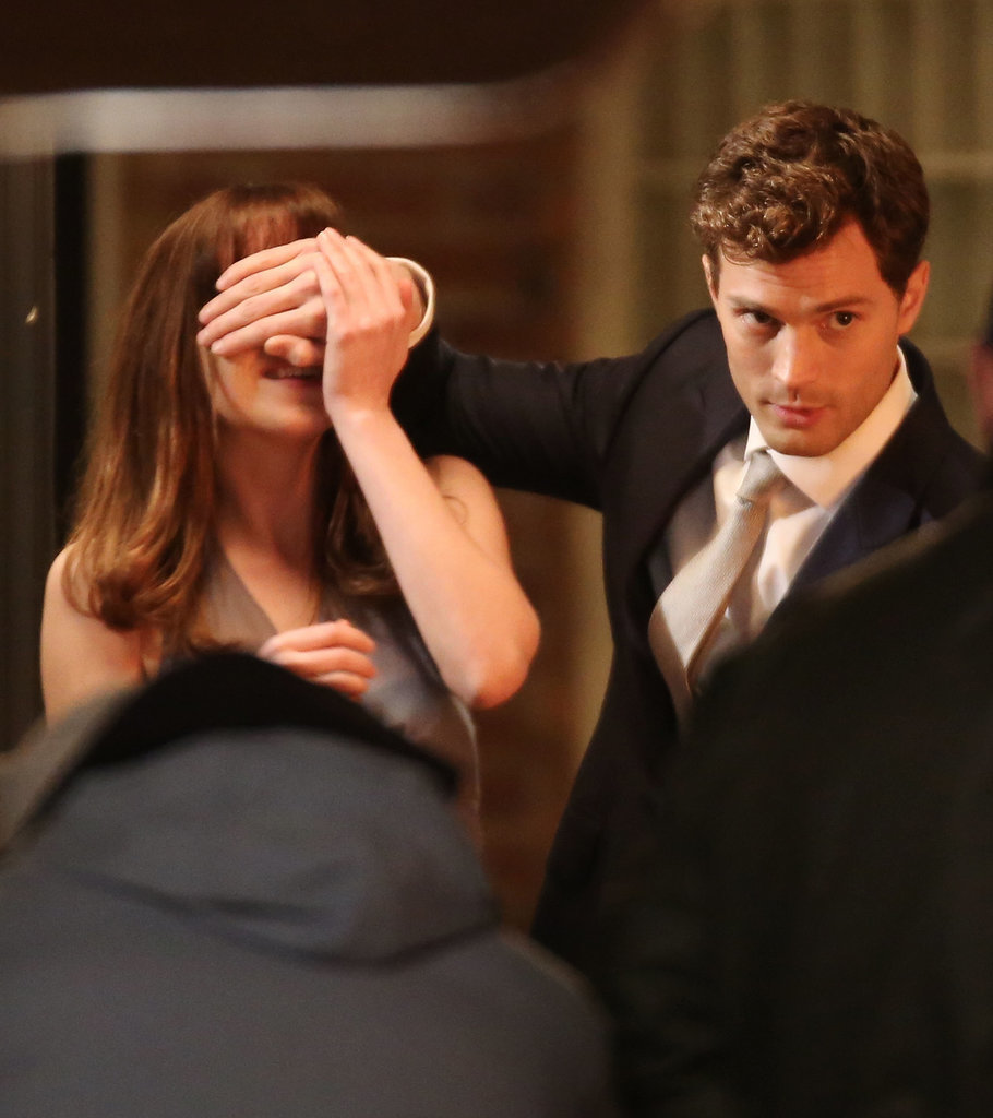 On Friday in Vancouver, Fifty Shades of Grey stars Jamie Dornan and Dakota Johnson filmed a scene, in which Christian surprises Ana with a new car.
