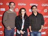 Kristen posed with Camp X-Ray director and writer Peter Sattler and costar Peyman Moaadi.