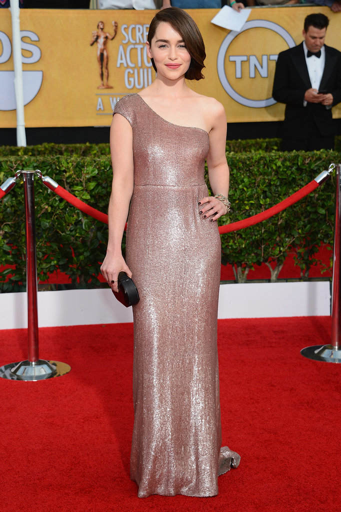 Emilia Clarke posed for photos in her sequined Calvin Klein Collection dress.