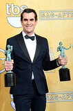 Modern Family's Ty Burrell won not one, but two SAGs for outstanding performance by an ensemble and outstanding performance by a male actor in a comedy series.