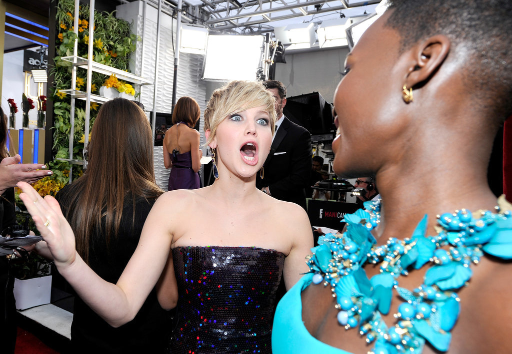 Jennifer looked excited to meet Lupita Nyong'o.