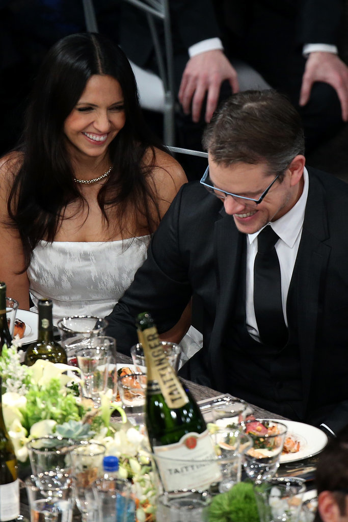 Matt Damon and his wife, Luciana Barroso, laughed in the audience.