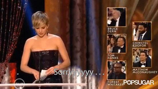Jennifer Lawrence Having Struggles With Her Envelope