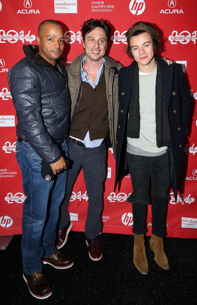 Harry Styles posed with Zach Braff and Donald Faison on Saturday.