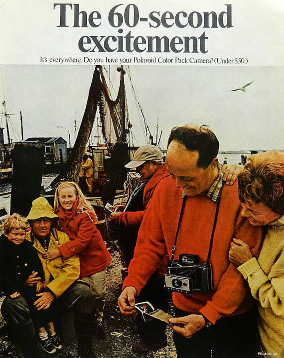 "In the 1960s, Polaroid launched a campaign called ""the 60-second excitement"" around its new color pack camera."