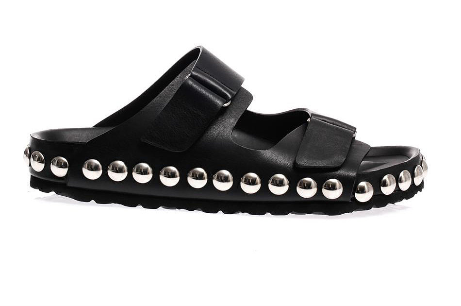 Giambattista Valli Studded Black Leather Flat Sandals
