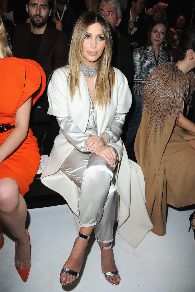 Kim Kardashian sat in the front row at Stéphane Rolland's haute couture presentation in Paris on Tuesday.