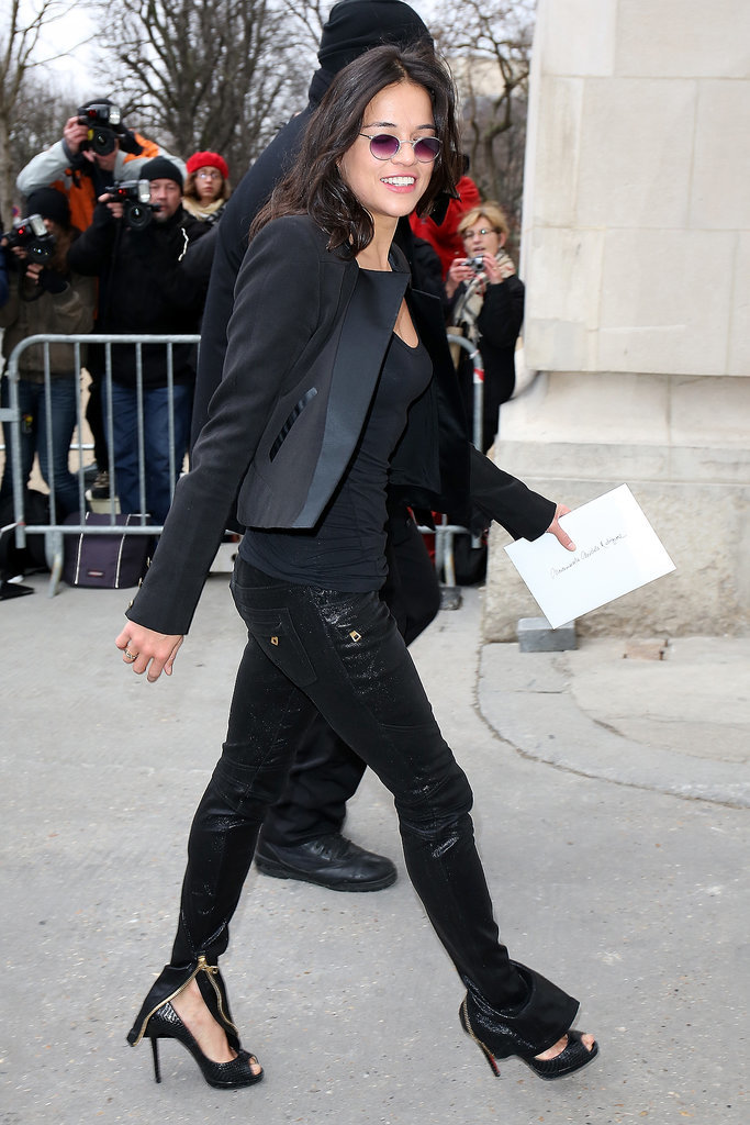 Michelle Rodriguez made her way into the Chanel show.