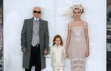 Cara Delevingne walked in the Chanel Haute Couture show with designer Karl Lagerfeld.