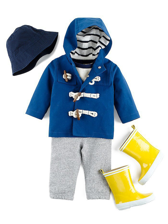 Rain Parka ($50), Bucket Hat ($19) , Marled Knit Pant ($20) , and Wellington boots ($27)