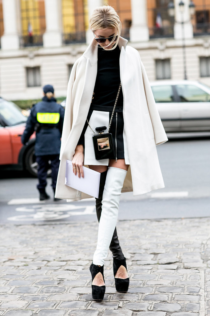 You don't have to cover up your stems with pants — take the sexier route with over-the-knee boots.