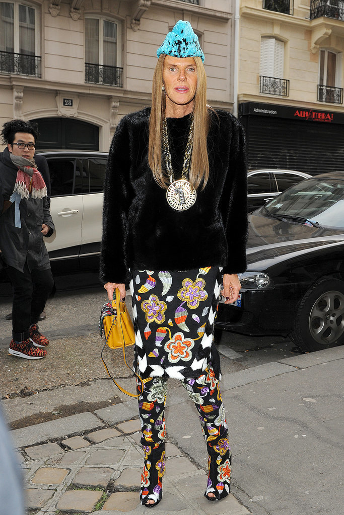 Anna Dello Russo outside the Maison Martin Margiela Haute Couture show.