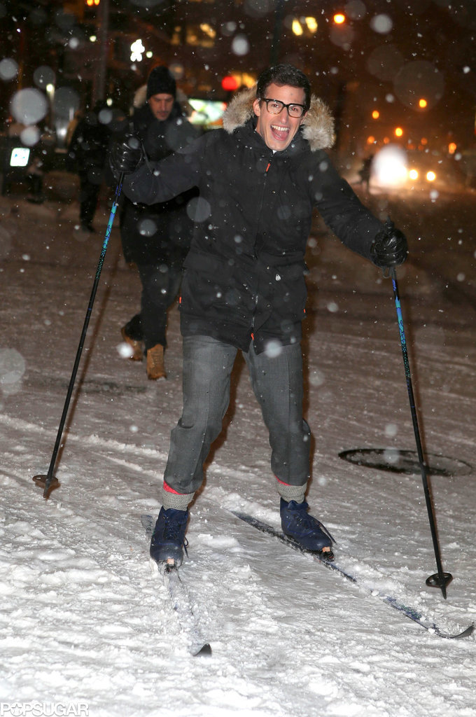 In an effort to make it to his Late Show With David Letterman appearance on time, Andy Samberg skied his way down Broadway in NYC.