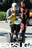Justin Bieber rode around on a Segway in Miami Beach, FL, on Wednesday. His scooter ride was just a few hours before his arrest.