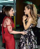 Ariana Grande chatted up Gloria Estefan behind the curtain at the Grammy Awards.