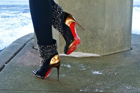 louboutin shoe price - christian louboutin black studded booties, spikes trainers