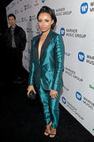 Kat Graham went for a suit at the Warner Music party.