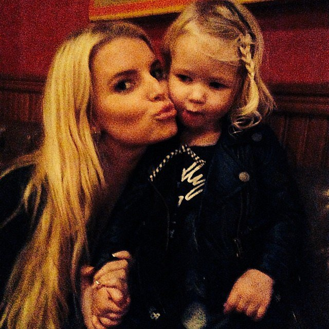Jessica Simpson and her adorable daughter, Maxwell Johnson, puckered up for this sweet snap. Source: Instagram user jessicasimpson1111