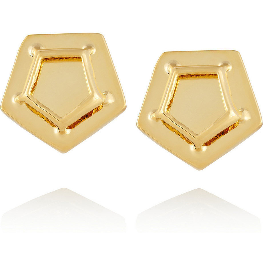 Eddie Borgo Gold Caged Paradox Stud Earrings