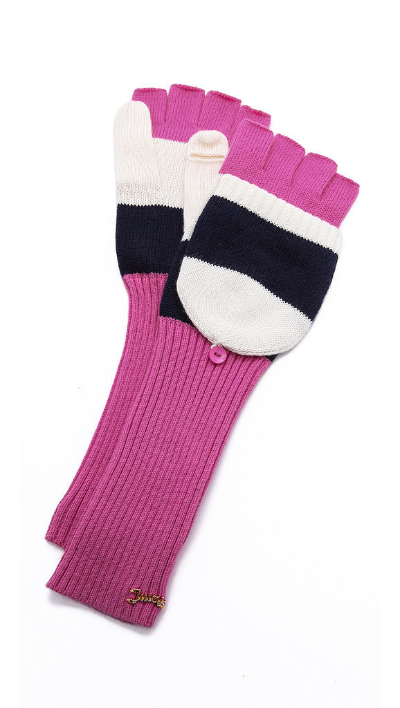 Juicy Couture Pink, White, and Black Pop Top Mittens