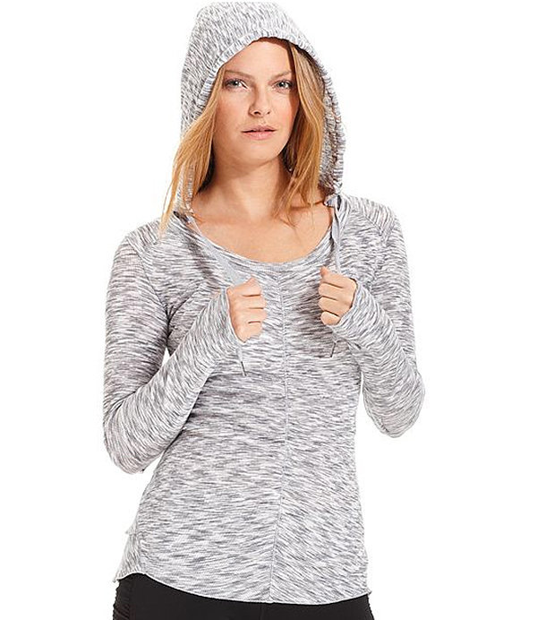 For a lightweight long-sleeved shirt, this flattering Calvin Klein Hooded Space-Dye Top ($49) is a cool and cozy moisture-wicking pick. It's great for a class where you're going to need a light layer.