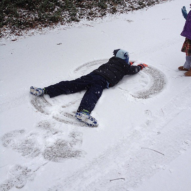 In some areas, it was time for snow angels.