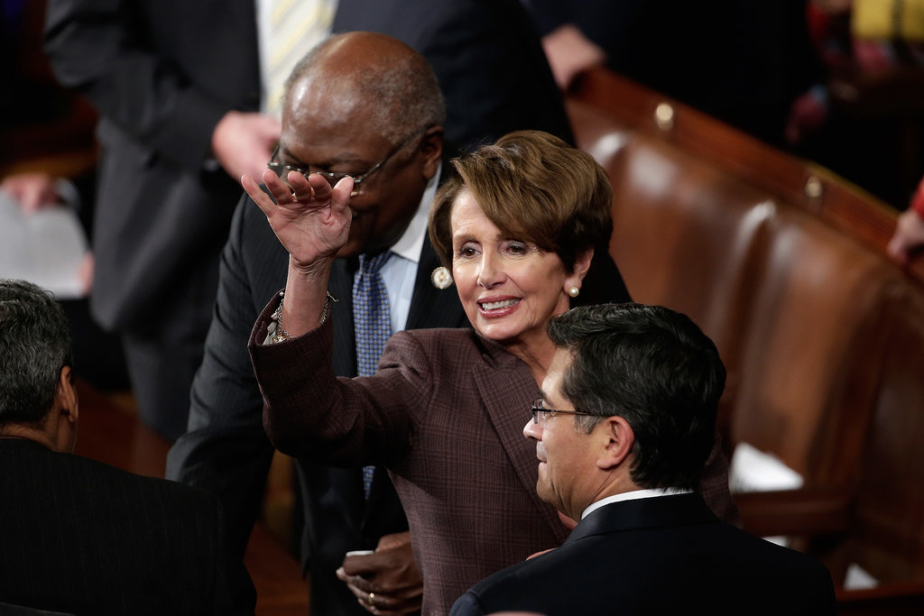 House Minority Leader Nancy Pelosi said her hellos.