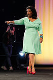 Oprah pointed to her audience during an event for her O, the Oprah Magazine in 2012.