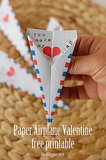 Paper Airplane Valentine's Printable